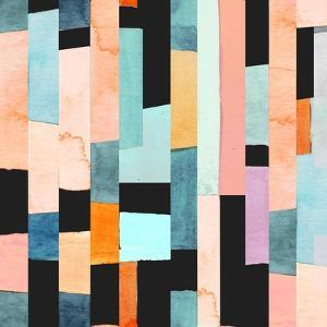 Geometric Seamless Pattern with Multicolor Stripes and Teals by Tasiania