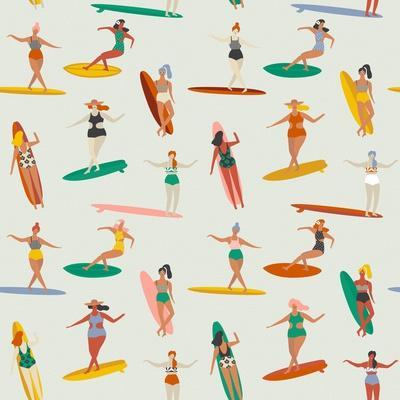 Girl Surfers in Bikinis - Beige Seamless Pattern