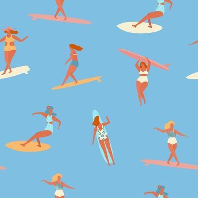 Girl Surfers in Bikinis - Blue Seamless Pattern