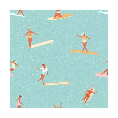 Girl Surfers in Bikinis - Green Seamless Pattern