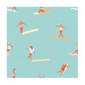 Girl Surfers in Bikinis - Green Seamless Pattern by Tasiania