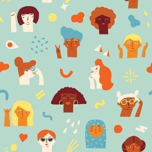 Girls Power, Feminine and Feminism, Woman Empowerment Ideas Seamless Pattern. International Womens by Tasiania