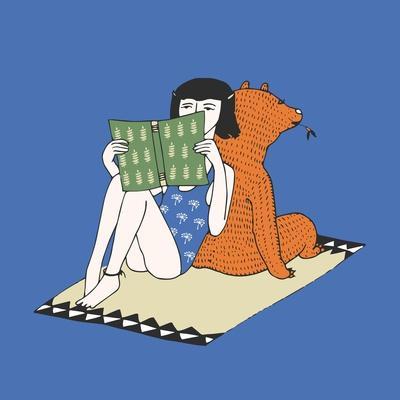 Hand Drawn Girl and Bear Illustration