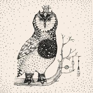 Hand Drawn Owl Illustration by Tasiania