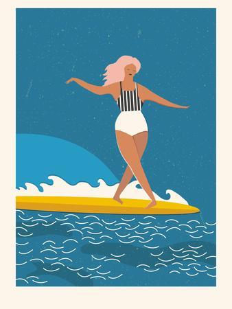 Retro Surfer Girl on a Longboard Riding a Wave