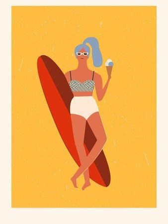 Retro Surfer Girl with Longboard Eating Ice Cream