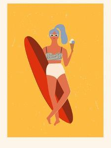 Retro Surfer Girl with Longboard Eating Ice Cream by Tasiania