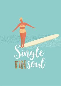 Single Fin Soul - Surfing Illustration with Longboard Balancing Surfer Girl by Tasiania