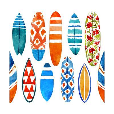 Summer Surfboard Pattern - Watercolor