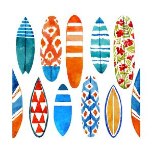 Summer Surfboard Pattern - Watercolor by Tasiania