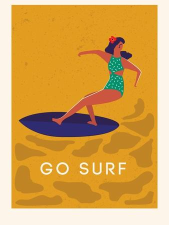 Summer Surfing Girl Illustration