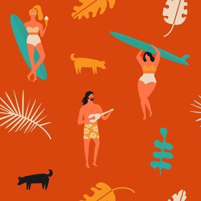 Surfing Pattern with Girls Carrying Surfboards and a Guy Playing Music