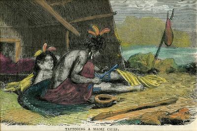 Tatooing a Maori Chief, Late 19th Century--Giclee Print