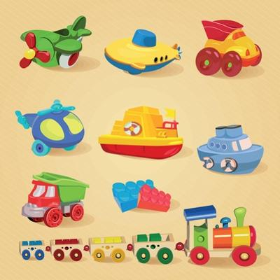 Set of Toys with Airplane, the Submarine, Truck, Dump Truck, Helicopter, Designer, Train, Car by Tatsiana Tsyhanova