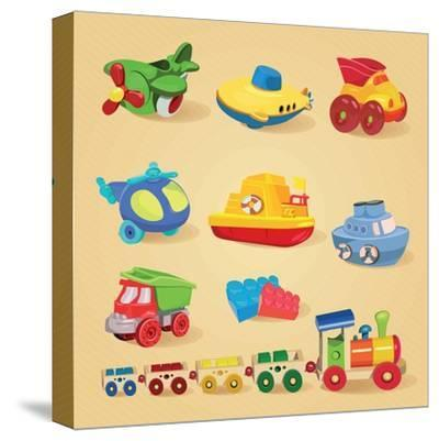 Set of Toys with Airplane, the Submarine, Truck, Dump Truck, Helicopter, Designer, Train, Car