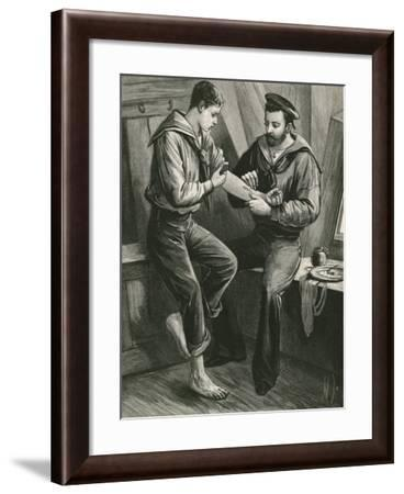 Tattoing His Initials--Framed Giclee Print