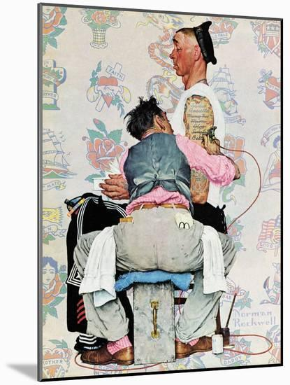 """""""Tattoo Artist"""", March 4,1944-Norman Rockwell-Mounted Giclee Print"""
