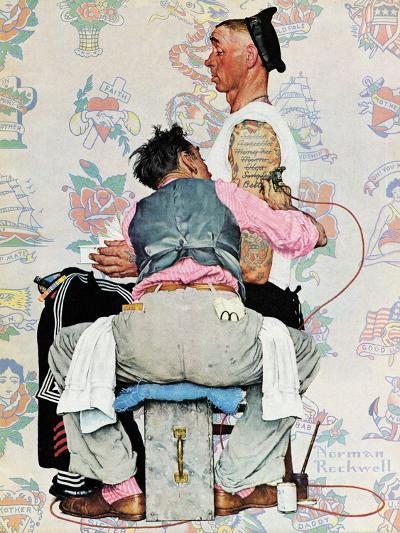 """""""Tattoo Artist"""", March 4,1944-Norman Rockwell-Giclee Print"""