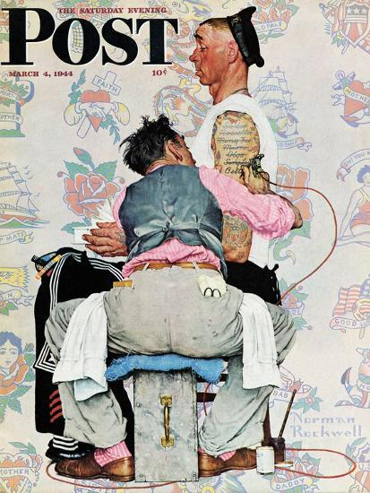 """""""Tattoo Artist"""" Saturday Evening Post Cover, March 4,1944-Norman Rockwell-Giclee Print"""