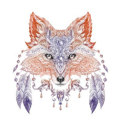 Tattoo, Portrait of A Wild Fox-Vensk-Art Print