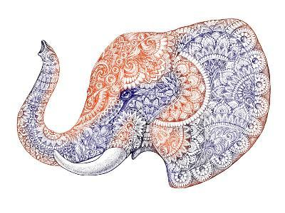 Tattoo Profile Elephant with Patterns and Ornaments-Vensk-Art Print