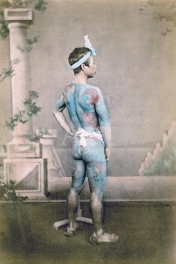 Tattooed Japanese Groom Bett Japan 1882 Giclee Print By Felice