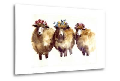 Watercolor Sheep with Flowers. Watercolor Sheep, Hand Drawn Cute Illustration. Creative Farm Animal by Tatyana Komtsyan