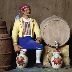 Tavern with Host, Barrel and Jugs, Figurines by Mario Mattia for Roman Nativity Scene, Italy