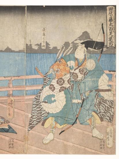 Tawara No Tota Defeating the Centipede, 1850-51-Utagawa Kunimaro-Giclee Print