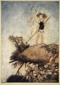 One Aloof Stand Sentinel, Illustration from 'Midsummer Nights Dream' by William Shakespeare, 1908 by Tawaraya Sotatsu