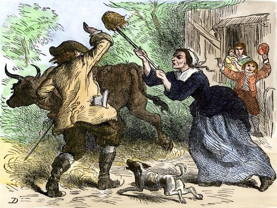 Tax-Collector Beaten Off by an Angry Carolina Colonist--Giclee Print