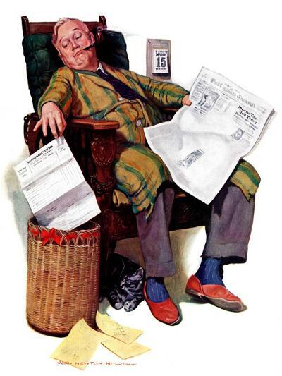 """Tax Deadline,""March 19, 1938-John Newton Howitt-Giclee Print"