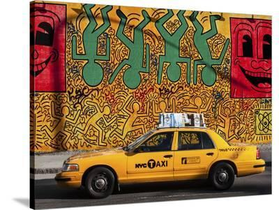 Taxi and mural painting, NYC-Michel Setboun-Stretched Canvas Print