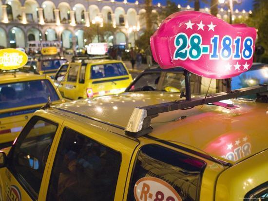 Taxi Cab Jam in Plaza de Armas, Arequipa, Peru-Brent Winebrenner-Photographic Print