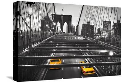 Taxi on Brooklyn Bridge, NYC--Stretched Canvas Print