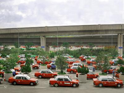 Taxis Parked in a Parking Lot Outside of the Hong Kong Airport Waiting for Passengers-xPacifica-Photographic Print