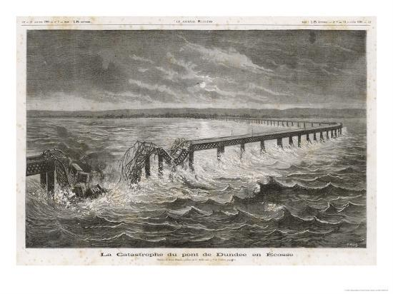 Tay Bridge Bridge Collapses During a Storm with Disastrous Consequences-Henri Meyer-Giclee Print