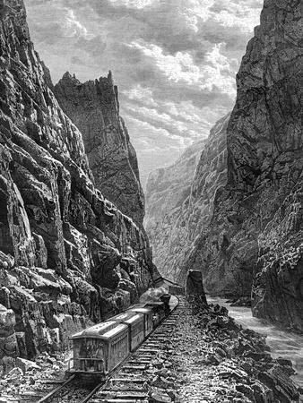 A Train Passing Through the Rocky Mountains, USA, 19th Century