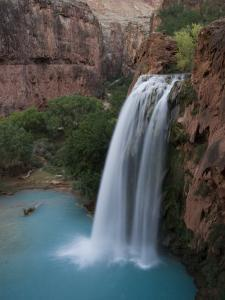 A Blue Waterfall Wets the Arid Landscape of the Grand Canyonl by Taylor S. Kennedy