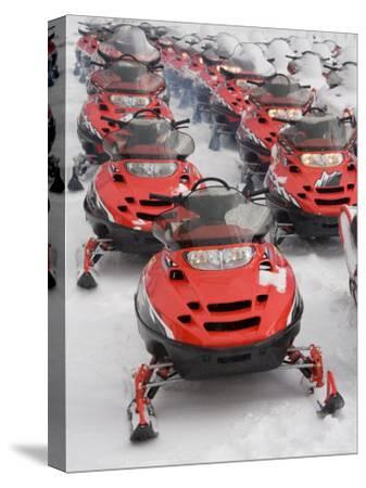 A Large Group of Snowmobiles Sit Waiting for Action
