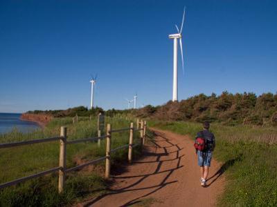 A Man Walks Along a Path Near Wind Turbines by Taylor S^ Kennedy