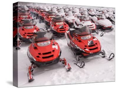 A Row of Snowmobiles Sit Waiting for the Next Adventure to Start