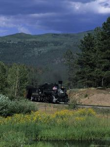A Steam Engine Chugs Through a Valley Near a Field of Wildflowers, Silverton, Colorado by Taylor S. Kennedy