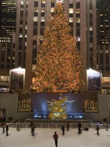 Rockefeller Center and the Famous Christmas Tree,Rink and Decoration, New York City, New York by Taylor S^ Kennedy