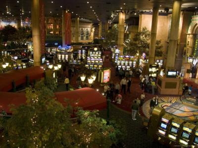 The Inside of a Hotel and Casino Lobby with Lots of Slot Machines, Las Vegas, Nevada