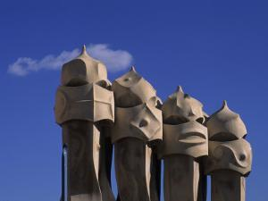 The Strangely Shaped Rooftop Chimneys of La Pedrera Designed by Gaudi, Barcelona, Spain by Taylor S. Kennedy