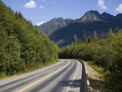 Winding Road Through the Mountains of Vancouver Island, British Columbia, Canada