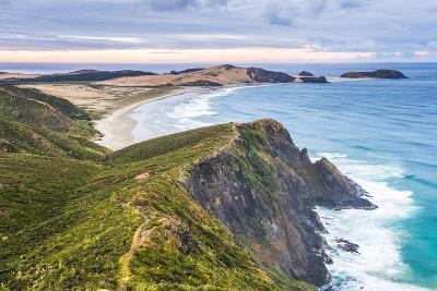 Te Werahi Beach at Sunrise, with Te Paki Coastal Track Path Visible, Cape Reinga-Matthew Williams-Ellis-Photographic Print