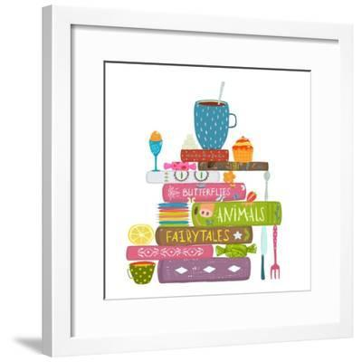 Tea Drinking Eating Pastry and Reading Books Cosy Illustration. Books Reading and Sweets Colorful T-Popmarleo-Framed Premium Giclee Print