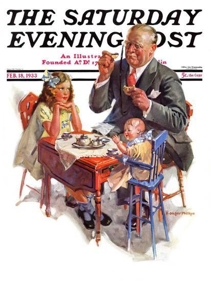 """""""Tea for Grandpa,"""" Saturday Evening Post Cover, February 18, 1933-C^ Gager Phillips-Giclee Print"""